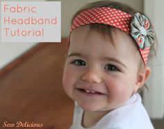 Sewing Fabric Flowers Sew Delicious: Fabric Headband and Yo-Yo - Tutorial Fabric Headband Tutorial, Fabric Headbands, Diy Headband, Baby Headbands, How To Make Toddler Headbands, Sewing Hacks, Sewing Tutorials, Sewing Crafts, Sewing Projects