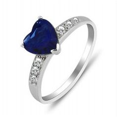 Heart Sterling Silver Sapphire Ring - USD $39.95