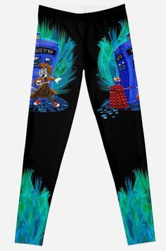 Doctor Tom Leggings #Leggings #clothing #mickeymouse #donaldduck #cat #mouse #doctorwho #davidtennant #10th #fog #mist #tardis #whovian #mashup #timelord #timetravel