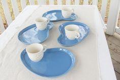 Vintage Blue Ceramic Snack Plates Set of 4