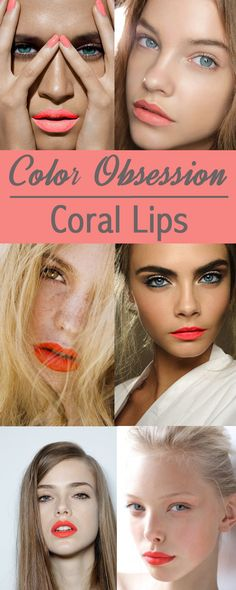 Coral lipstick inspiration for Spring and Summer. Makeup ideas and inspiration for Summer Eye Makeup, Beauty Makeup, Hair Makeup, Hair Beauty, Beauty Bar, Summer Lipstick, Coral Lipstick, Summer Makeup, Lipsticks