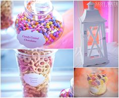 Candy Table Wedding Seaside Sunset Colors Pink Purple Orange