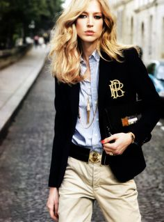 lelaid: Raquel Zimmermann in Chic en Seine for Vogue Paris. Best Picture For preppy outfits plus s Terry Richardson, Preppy Girl, Preppy Look, Preppy Style, Ralph Lauren Blazer, Ralph Lauren Style, Preppy Outfits, Mode Outfits, Fashion Outfits