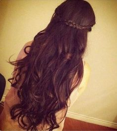 long hair, messy curls, braid--gorgeous.