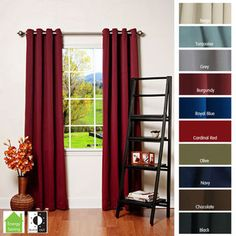 @Overstock - Grommet Top Thermal Insulated 95-inch Blackout Curtain Panel Pair - This stylish insulated blackout curtain panel features an elegant and innovative construction that adds a modern feel to any home. This stylish curtain is proven to block out 99.9-percent of light to keep your room as dim as you want it to be.    http://www.overstock.com/Home-Garden/Grommet-Top-Thermal-Insulated-95-inch-Blackout-Curtain-Panel-Pair/4359824/product.html?CID=214117  $67.46