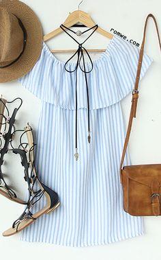 Off The Shoulder Vertical Striped A-line Dress
