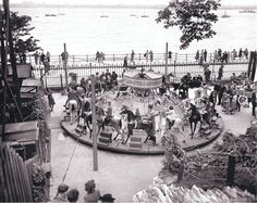 1820 Dobby Horses - This 1946 picture shows the oldest ride at the park, a set of dobby horses allegedly from 1820 New Brighton Beach, The Pleasure Garden, Go Kart Tracks, Liverpool History, Go Ride, Amusement Park Rides, Pony Rides, Outdoor Pool, Picture Show