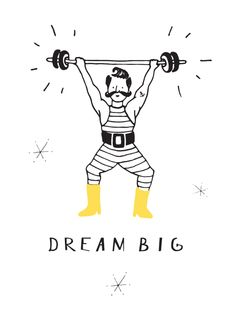 'Circus fun' white and black weight lifter poster