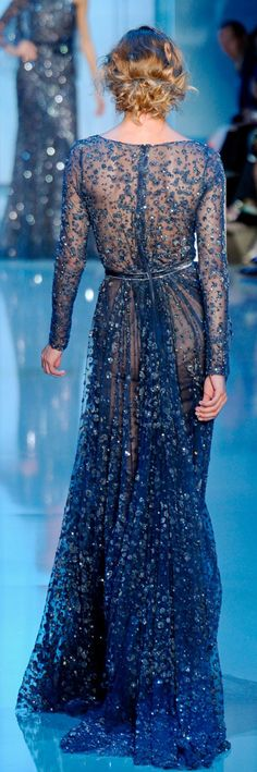 Elie Saab Paris Haute Couture Fall Winter 2011-2012.  God, I just love this blue color!