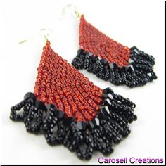 Beaded Shady Lady Dangle Chandelier Earrings TAGS - Jewelry, Earrings, Beaded, red, black, fringe, native american, indian, earrings, glass, seed beads, ladies, fashion, chic, holiday gift, new, jewelry, brick stitched, weaved, woven, fire, passion, sexy, casual, evening wear, shady, elegant, bling, carosell creations, etsy, handmade, women