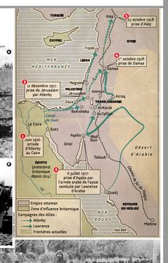 The First World War in Orient / Lawrence of Arabia. Map created by Hugues Piolet for Historia magazine.