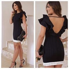 Black dress with white detail Elegant Dresses, Sexy Dresses, Cute Dresses, Beautiful Dresses, Short Dresses, Fashion Dresses, Summer Dresses, Formal Dresses, I Dress