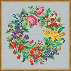 For sale is Berlin Woolwork Antique Multi-floral Wreath 1 Counted Cross Stitch Pattern in PDF format. Colors are pre-selected to match existing antique pattern. Publisher - Todt, A, circa 1870-1900, Germany. Pattern description and information Format – PDF Fabric – Aida 14 Count