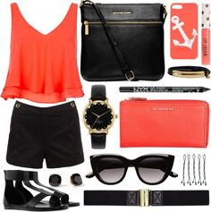 """""""Coral & Black"""" by emmy on Polyvore"""