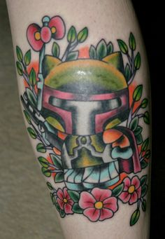I love this Hello Kitty Boba Fett tattoo! More geeky tattoos: 11 Wonderfully Out There Sci Fi Tattoos - Oddee.com.