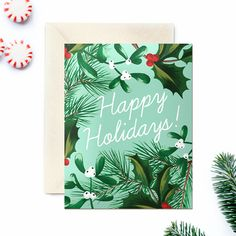Boxed Christmas Cards, Set of 8,  Mint Green Winter Foliage Deisgn, by WoodburyDesignCo on Etsy