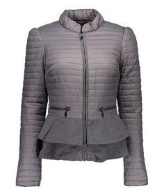 Another great find on #zulily! Gray Peplum Puffer Jacket by Blanc Noir #zulilyfinds
