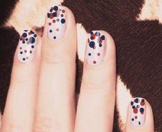 uneven-polka dots nails - 30  Adorable Polka Dots Nail Designs  <3 <3
