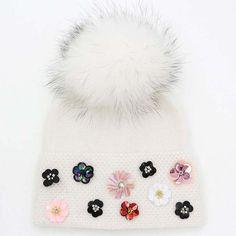 Women's Winter Hat With Flower Cool Knitted Wool Beanie Winter Hats For Women, Rabbit Fur, Floral Style, Beanie, Wool, Flowers, Pattern, Patterns, Beanies