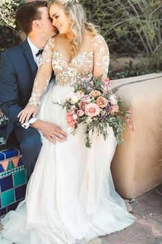 wedding couple // wedding couple portraits // wedding couple poses // wedding gown // long sleeve illusion lace // wedding bouquet // haley paige remmington gown kayla + austin, la fonda santa fe wedding by Alicia Lucia Photography // 2018 wedding dress
