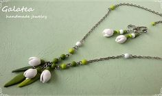 Jewelry set Snowdrops of polymer clay spring by GalateaJewelry