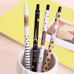 4 개/몫 0.5 미리메터 귀여운 가와이이 플라스틱 기계 연필 사랑스러운 도트 타워 자동 펜 아이 학교 용품 무료 배송