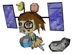 PAPERMAU: Hyabusa-Tan Spacecraft Personification Paper Doll - by Fumi-A