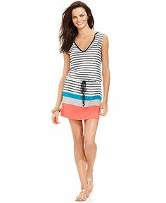 (For BVI) Dotti Hooded Stripe Cover Up - Swimwear - Women - Macy's