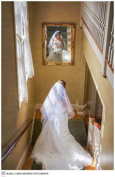 Bride descending stairs, Atlantic Oceanside, Bar Harbor, Maine.