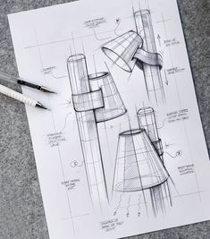Industrial Lamps Design - - Lamps Kitchen Bar - Old Standing Lamps - Led Lamps Box Interior Design Sketches, Industrial Design Sketch, Sketch Design, Illustration Sketches, Drawing Sketches, Drawings, Sketching, Drawing Furniture, Technical Drawing