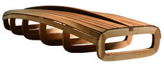 "BARCA, bench made of hand curved solid oak, the shape represents the hull and keel f a boat. Winning project at the ""Significant Furniture"" competition, edition 2006. by Friso Dijkstra"