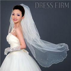 Faddish Elbow Wedding Veil With Lace Applique Edge