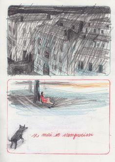 """Tavola tratta da """"Ci sono notti che non accadono mai. Canto a fumetti per Alda Merini"""" di Silvia Rocchi. Pubblicato da Becco Giallo (2012)."""