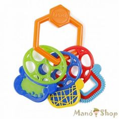These bold coloured key teethers will keep baby entertained and happy! Featuring multiple textures and soft material, this fun teether is perfect for tactile play and relieving baby's sore gums. Baby will love getting a grip on this teether as it is uniqu Kids Store, Toy Store, Baby Slide, Baby On A Budget, Musical Toys, Teething Toys, Baby Rattle, Baby Disney, Baby Accessories