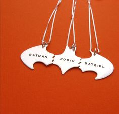 SALE Batman Best Friend Necklaces for THREE Friends, sterling silver