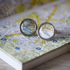 Personalised Re-Cycled Vintage Map Cufflinks