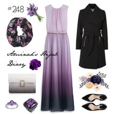 Aminah´s Hijab Diary #hijab #modest #fashion #style #look #outfit #ootd #purple #dress #ombre #black #mango