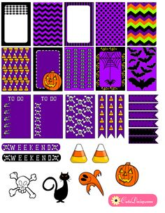 Free Printable Halloween Planner Stickers In Purple and Black
