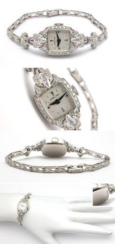 Antique Ladies Hamilton Diamond Wrist Watch Solid Platinum - EraGem