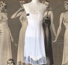 Vintage Lingerie Full Slip White Underwear Nylon Lace Slip