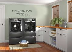 Other Design, : Classy Laundry Room Decoration Design Ideas With Modern Steel Washing Machine, White Drawer And Storage, Light Brown Solid Wood Counter Top