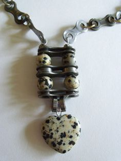 Dalmatian Jasper Gemstone Necklace with Recycled Bike Chain links on Etsy, $35.00