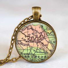 Nashville Tennessee  necklace, Nashville pendant, Nashville Tennessee jewelry ,  map pendant jewelry  with gift box on Etsy, $11.95