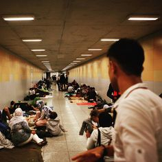 Refugees coming from the balkans route via Greece FYROM Serbia and Hungary have little choice but to seek shelter in the metro underpass in front of Keleti Railway Station in Budapest Hungary.(20/08/2015)  #EUldorado#facesofthejungle #migration#migrants#Schengen #filmisnotdead#OpenEurope#fortresseurope #reportage#documentary #TheNewContinent#junglelife #fence#border#meditarenean #migrantcrisis#fyrom#Serbia#Greece. #macedonia#hungary #szeged#balkans#keleti#budapest #everydayrefugees#germany…