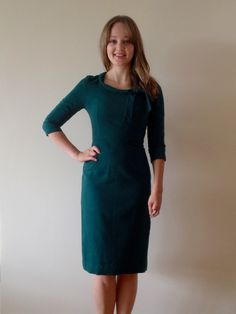 Diary of a Chain Stitcher: Bottle Green Wool Sew Over It Joan Dress - isn't Fiona the bomb?