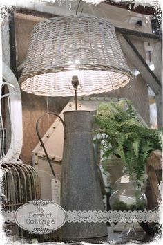Fabulous Lamp created from a zinc jug and a wicker basket