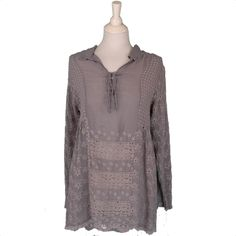Mauve Rayon Lace Up Top