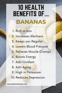 10 Healthy Reasons to add Bananas to your Diet. Banana Health Benefits from Healthier Diet Programs Banana Health Benefits, Fruit Benefits, Health Benefits Of Fruits, Healthy Tips, How To Stay Healthy, Healthy Food, Healthy Eating, Health And Nutrition, Health And Wellness