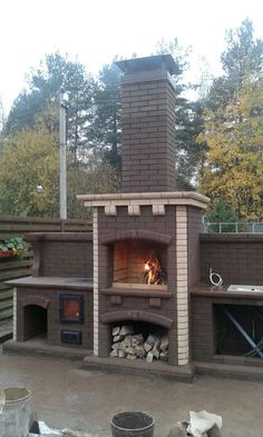 Modern Outdoor Kitchen, Outdoor Living, Outside Fireplace, Brick Bbq, Garden Design, House Design, Fire Pit Backyard, Brickwork, Masonry Bbq