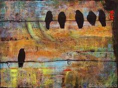 Art Print Black Birds on a Wire Rustic via Etsy